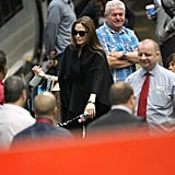 Angelina Jolie with kids at Euston Station.