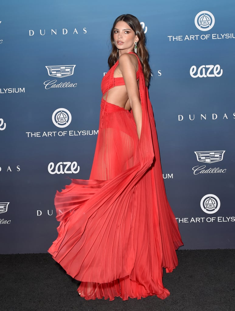 Emily Ratajkowski Red Dress at Art of Elysium Heaven Gala