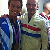 David Beckham snapped a photo with UK diver Tom Daley. Source: Facebook user David Beckham
