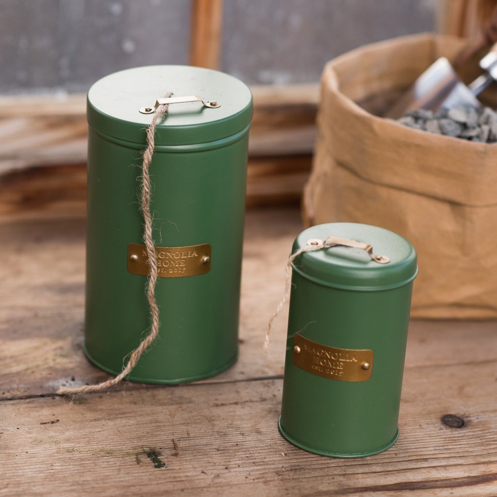 Magnolia Metal Canister With Jute String