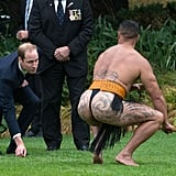 Prince William spent time with a Maori man during a ceremonial welcome in Wellington, New Zealand.