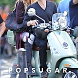Blake Lively and Penn Badgley boarded a Vespa.