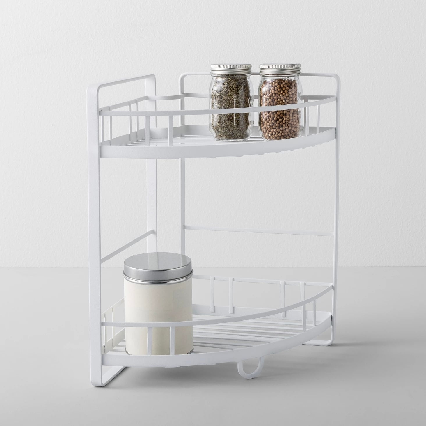 Kitchen Cabinet Organizer Corner Shelf Two Tier White | 50 ...