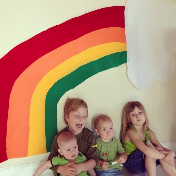 The McDermott kids got in the spirit of St. Patrick's Day wearing green and sitting under a rainbow over the weekend. Source: Instagram user torianddean