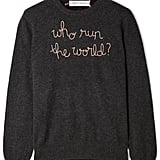 "Lingua Franca ""Who Run the World?"" Embroidered Cashmere Sweater"
