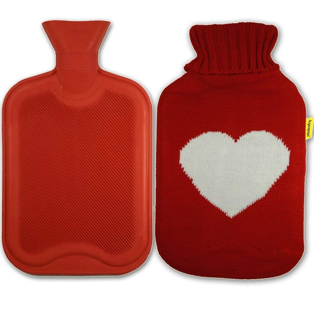 Aquapapa Rubber Hot Water Bottle With Big Heart Red Knit Cover ($13)