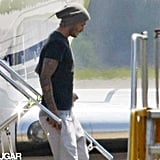 David Beckham touched down in London.