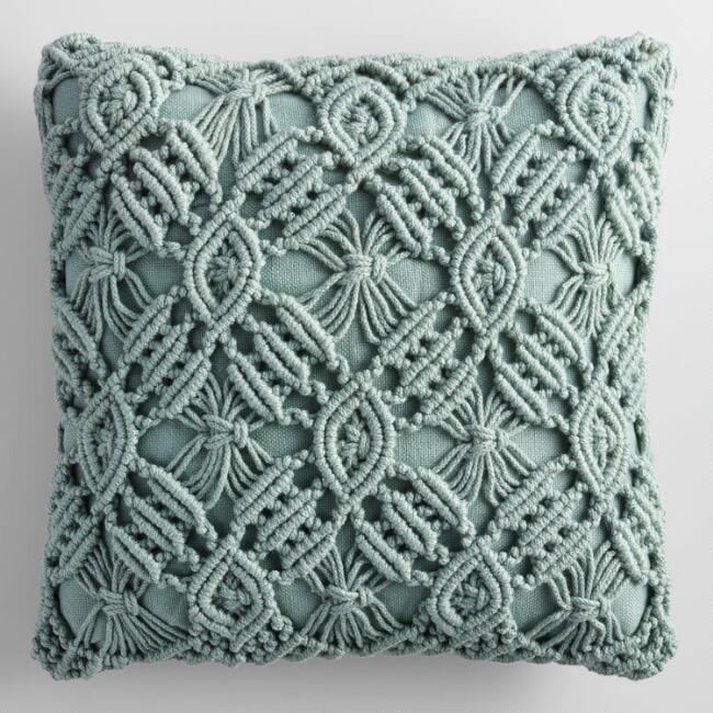 Jadeite Macrame Indoor Outdoor Throw Pillow