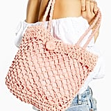 Topshop FIzzle Pink Straw Tote Bag