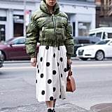 Winter Outfit Idea: A Cropped Puffer and Printed Skirt