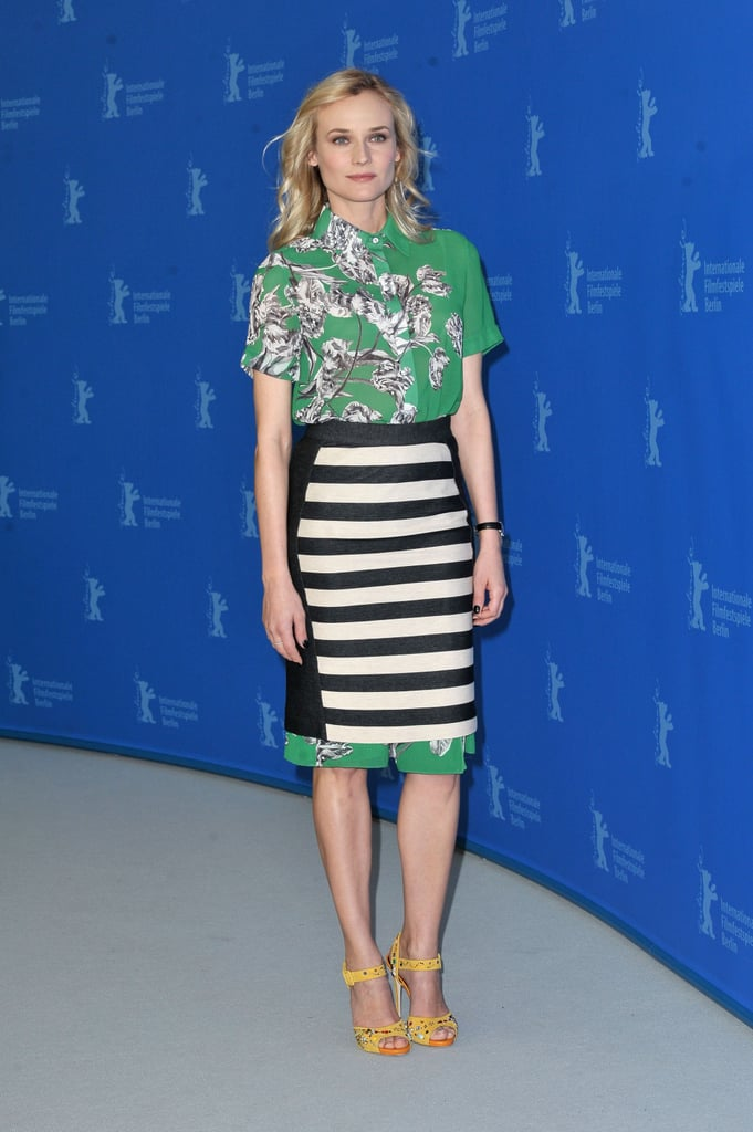 Diane Kruger styled her 10 Crosby Derek Lam floral top with a matching striped skirt and standout Giuseppe Zanotti yellow sandals at the Berlin Film Festival.   More Kate Spade...