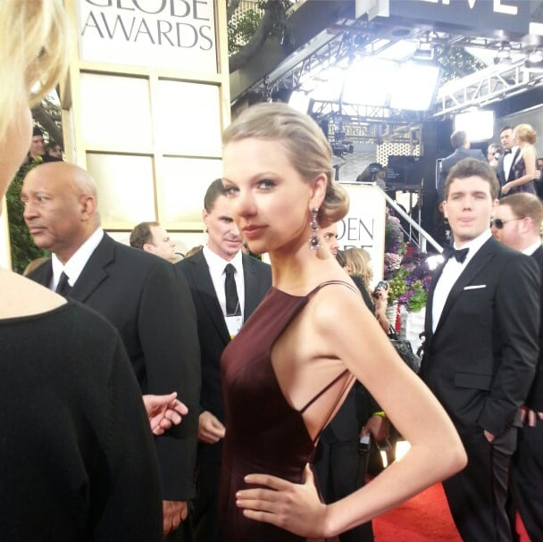 Taylor Swift traded in her sweet style for a little sophistication in Donna Karan Atelier at the Globes. Source: Instagram user goldenglobes