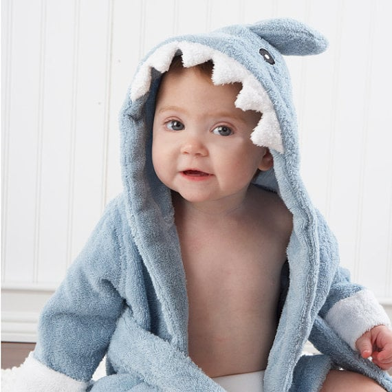 "This sweet ""Let The Fin Begin"" hooded towel ($35) makes bath time a blast!"