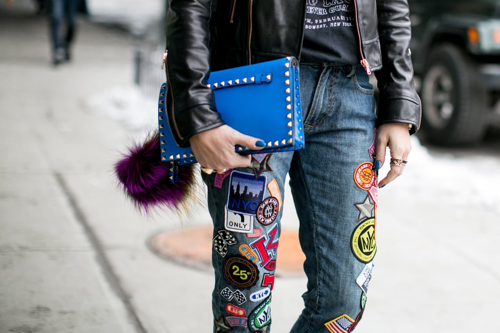 f94f0035c2aa Patched-up denim is the street-cool contrast to a studded clutch ...