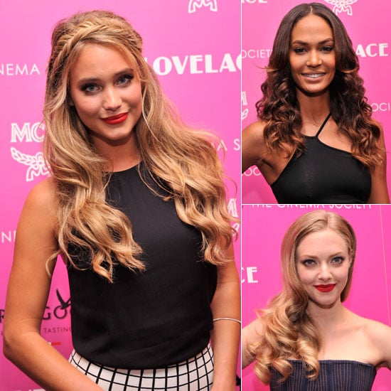 Joan Smalls, Amanda Seyfried, Hannah Davis at Lovelace MoMA