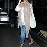 Cameron Diaz kept it casual in sandals and cutoff jeans as she arrived at LAX.