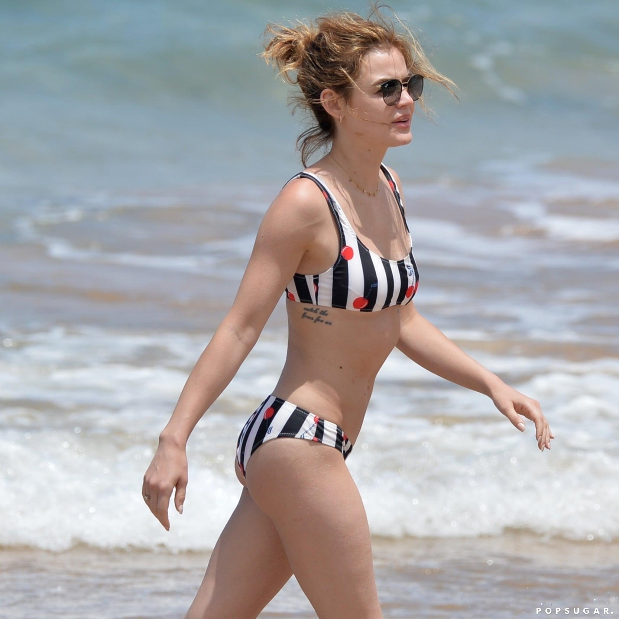 42818f76dfa50 Lucy Hale s Solid and Striped Cherry Bikini   POPSUGAR Fashion