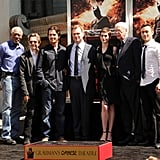 Morgan Freeman, Gary Oldman, Christian Bale, Anne Hathaway, Michael Caine, and Joseph Gordon-Levitt were on hand to support Christopher Nolan at his hand and footprint ceremony in LA.