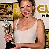 Tatiana Maslany showed off her Critics' Choice Television Award.