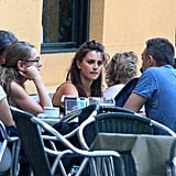 Penelope Cruz chatted with friends during lunch.