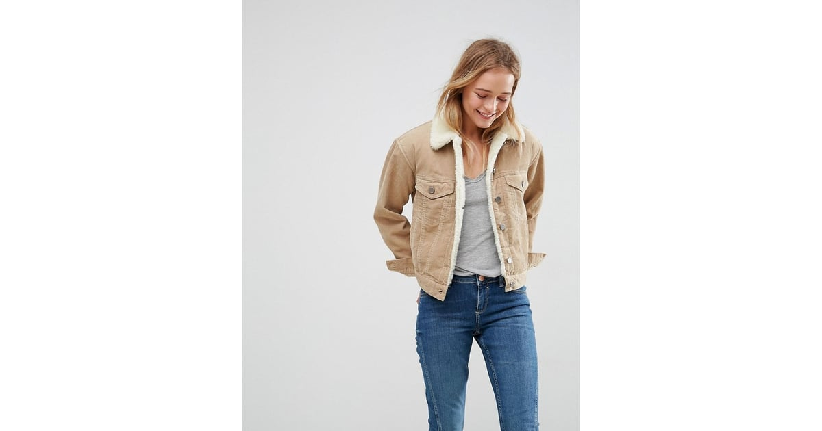310d6c4a7c0 Asos Cord Jacket With Borg Collar In Stone