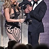Mariah Carey and Nick Cannon bring baby Moroccan Scott Cannon onstage at the BET Honors award show.
