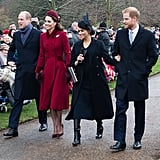 Kate Middleton Red Coat on Christmas Day 2018