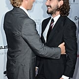 Guy Pearce and Shia LaBeouf got silly on the red carpet at the premiere of their new movie, Lawless.