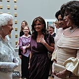The Queen, Kate O'Mara, Shirley Bassey, and Joan Collins