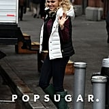 AnnaSophia Robb walked onto the set of The Carrie Diaries in NYC on Wednesday.