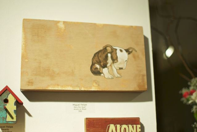 This shy pup painting by Miguel Felipe is too cute.