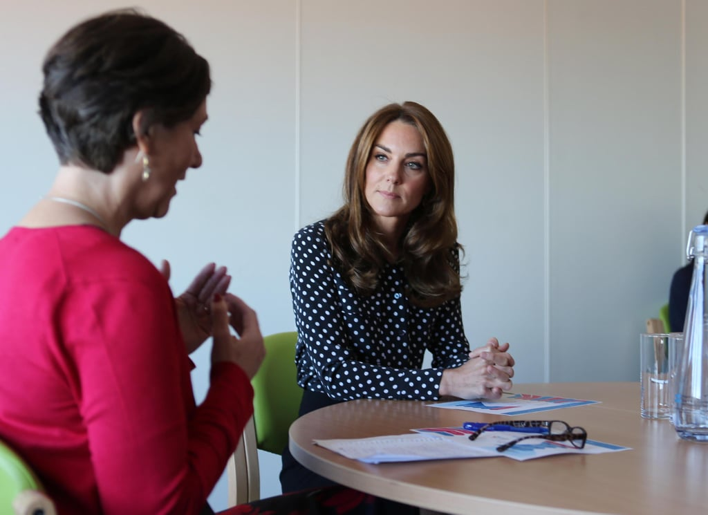 Kate Middleton Gives Us a Lesson in Transitional Dressing With Her Chic Polka-Dot Shirt