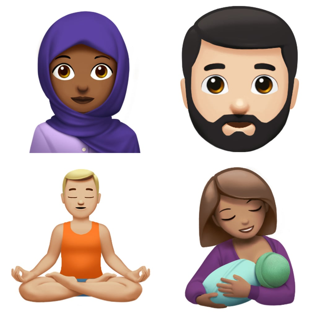 Meet woman with headscarf, bearded person, person in Lotus position, and breastfeeding emoji.
