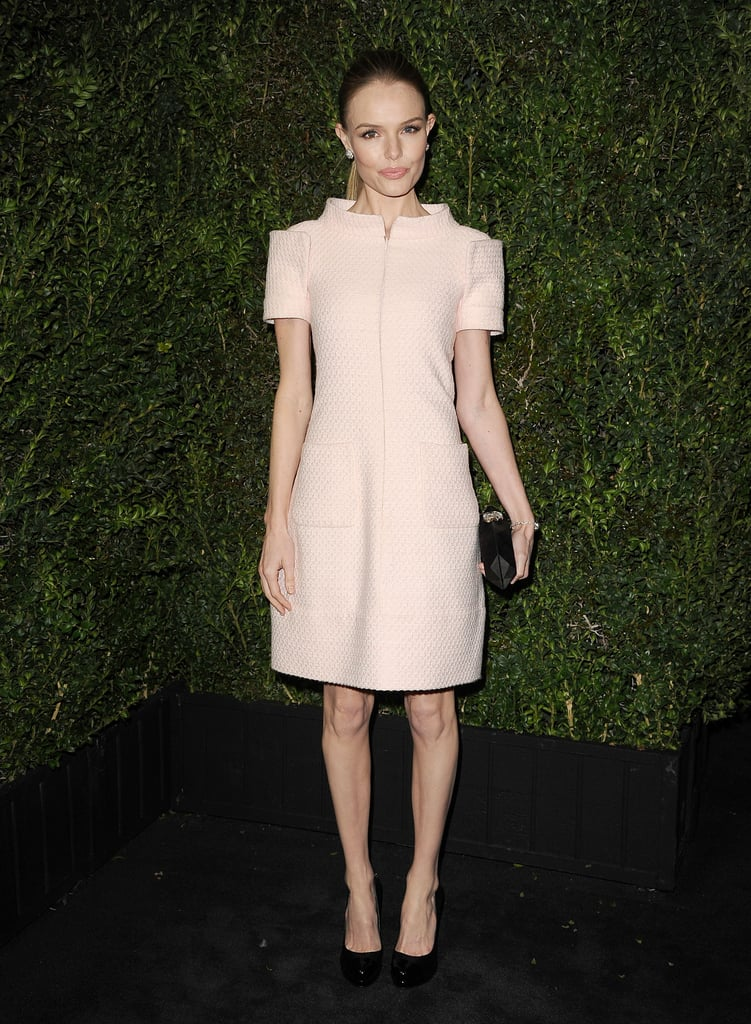 Kate stepped out in a structured pastel pink Chanel dress, from the Spring '13 Haute Couture collection, while partying the night away at Chanel's February 2013 pre-Oscar dinner in LA.