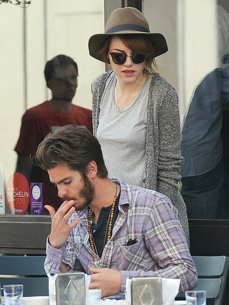 Andrew Garfield and Emma Stone had a lunch date.
