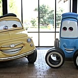 Inside the Jobs building, you're greeted by Luigi and Guido from Cars.