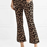 Frame Cropped Leopard-Print Cotton-Blend Velvet Flared Pants