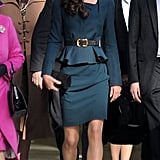 Kate Middleton wore a LK Bennett suit.
