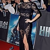 Brooklyn walked the red carpet in a stunning peekaboo lace femme d'armes gown at the film's Seoul premiere.