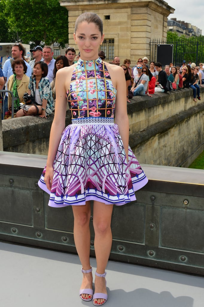 A vibrant graphic print made a serious statement outside the Christian Dior show.