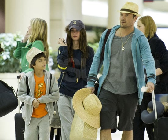 Slide Picture of Megan Fox, Brian Austin Green, and Kassius Returning to LAX