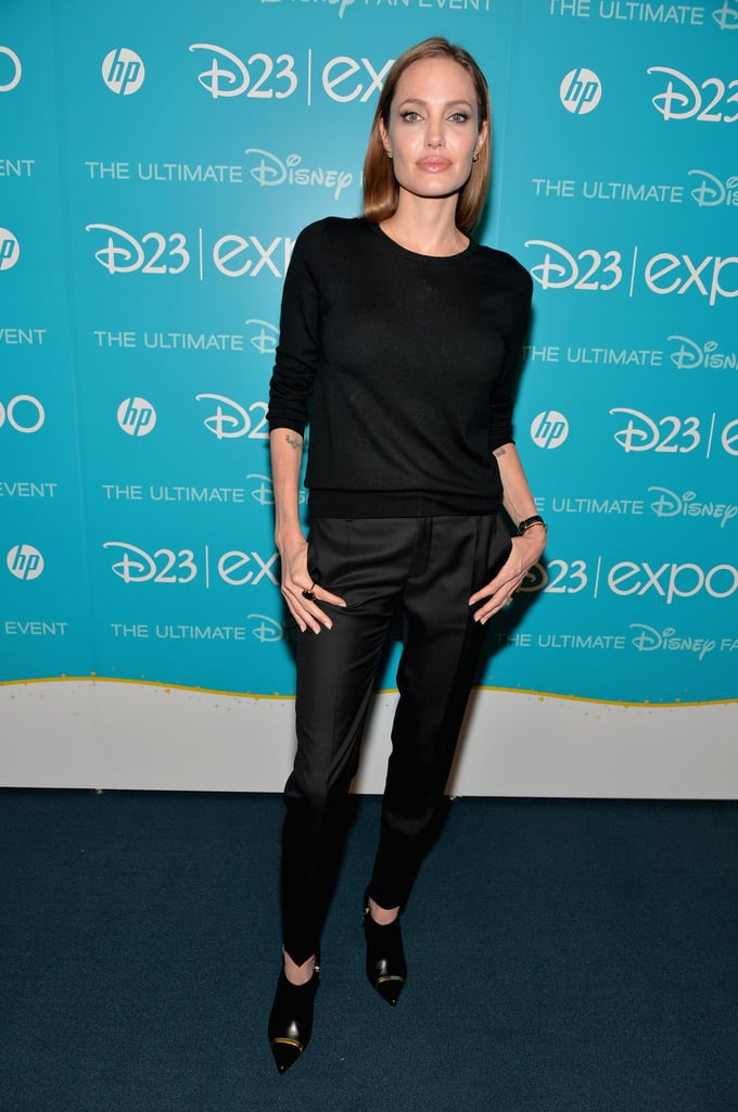Angelina Jolie, who will star in Disney's Malificent, attended the D23 Expo in LA on Saturday.