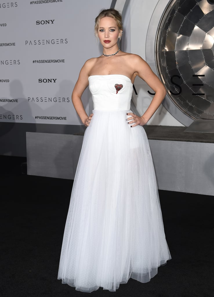 Jennifer chose this strapless white heart embroidered Dior gown for the California premiere of Passengers in December 2016.