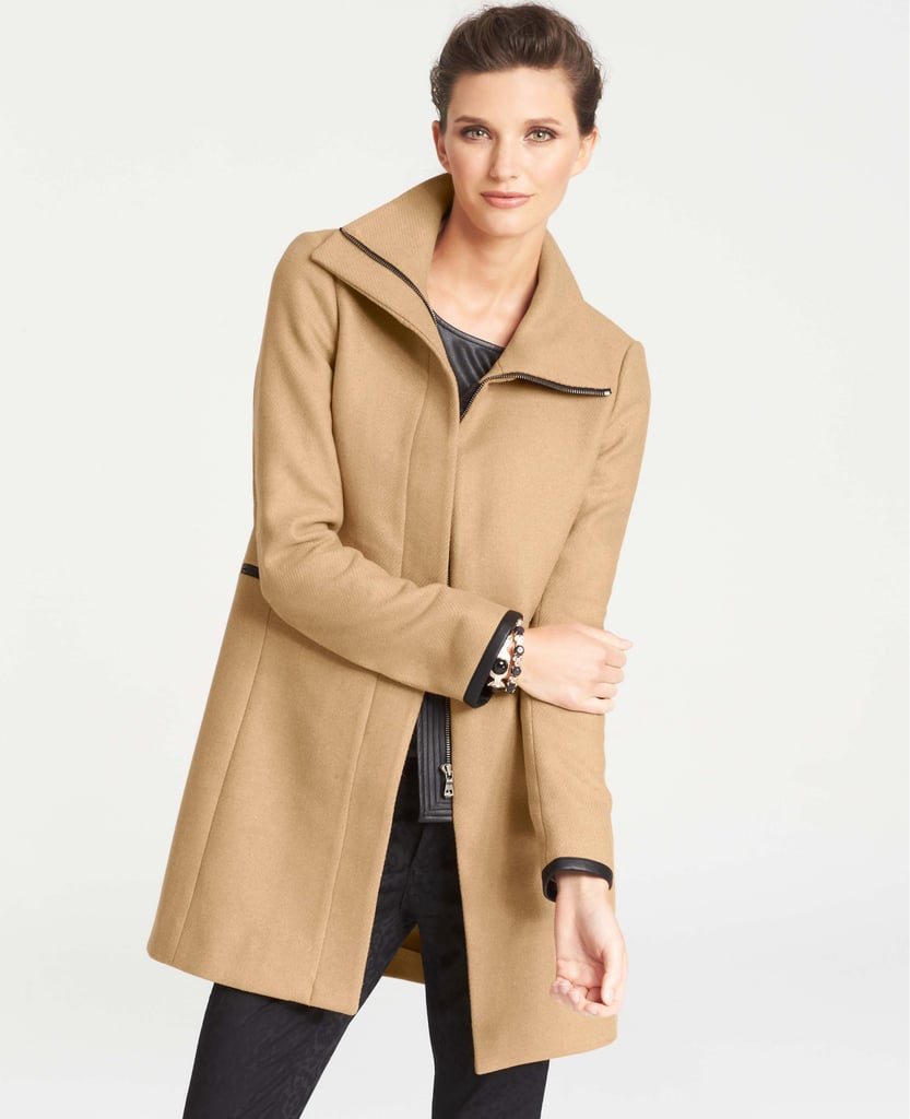 You can't beat a classic camel coat like this Ann Taylor Faux Leather Trim Wool Blend Coat ($278).