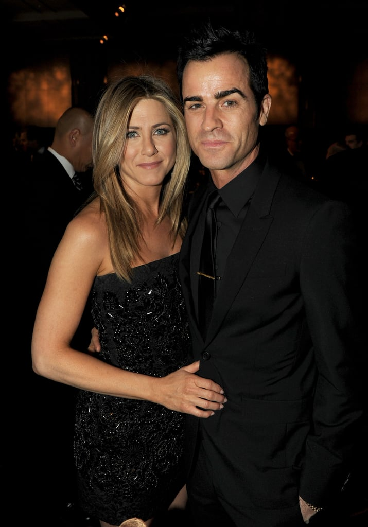 Jennifer Aniston went with her staple — a hot, strapless, black Dolce & Gabbana minidress — for tonight's Directors Guild Awards in Los Angeles. She flashed a big smile and waved to fans as she first hit the red carpet without her man, Justin Theroux. Jennifer and Justin soon met up to pose together as well. Jennifer is a nominee in the movies for television and miniseries category for her work in the Lifetime project Five. Jennifer shares the recognition with a handful of women, including Demi Moore, who unfortunately will be missing the evening after the scary events of the past week in her personal life. Jennifer, Demi, Alicia Keys, and the rest of the people who worked on the project debuted it last Fall in NYC, and that night Jennifer also had Justin by her side to help share in the celebrations. Justin and Jennifer remain attached at the hip and he'll once again be cheering her on, whether or not she walks away with the DGA statue.