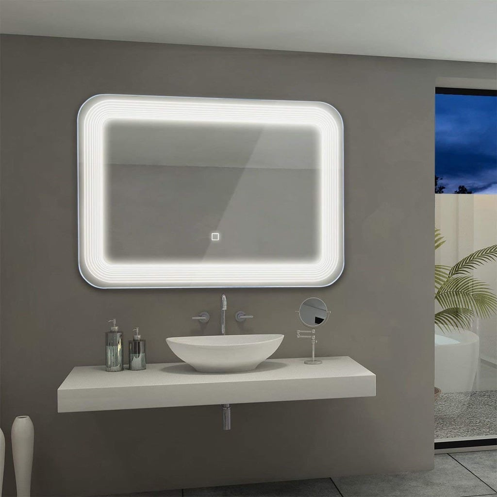 Tangkula LED Mirror Wall Mount Lighted Mirror