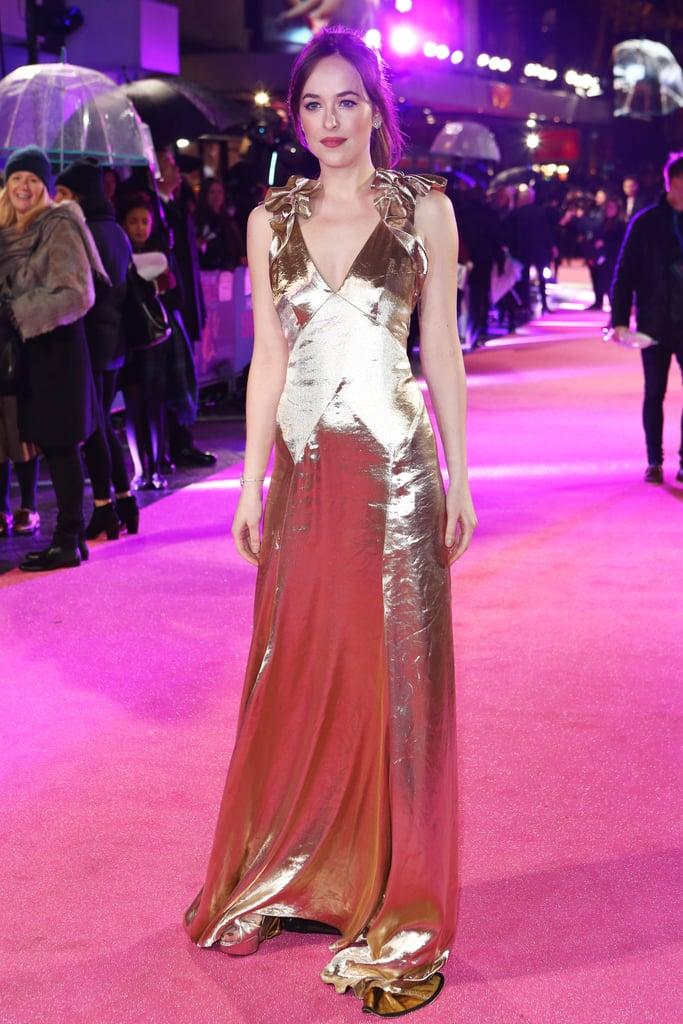 Dakota Johnson's Gold Dress at How to Be Single Premiere