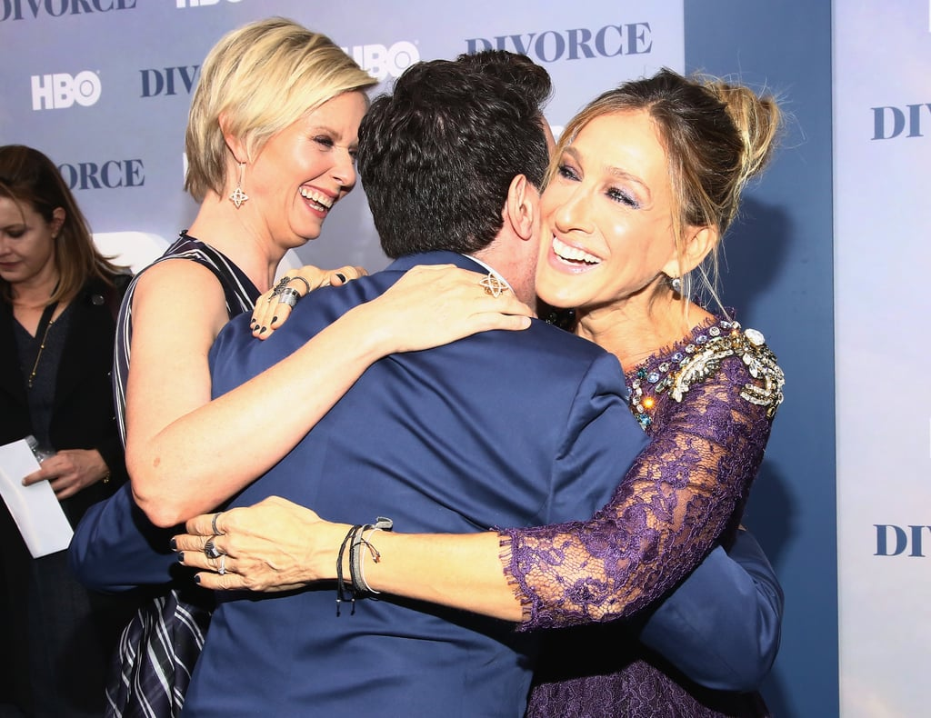 "It's been 12 years since the final episode of Sex and the City aired, but the cast still remains close. On Tuesday, Sarah Jessica Parker reunited with her former costars, Cynthia Nixon and Mario Cantone, at the premiere of her new HBO show, Divorce, in NYC. The trio had the most fun on the red carpet as they laughed and posed for pictures together. Sarah, who was accompanied by her longtime husband, Matthew Broderick, gave off major Carrie Bradshaw vibes in a purple jewel-embellished gown. In an interview with Glamour last month, Sarah revealed that although she misses her iconic Sex and the City character ""like the way I miss the birth of my son,"" she's ready to leave Carrie in the past for good.        Related:                                                                                                           10 Memorable Carrie Bradshaw Quotes to Live By"