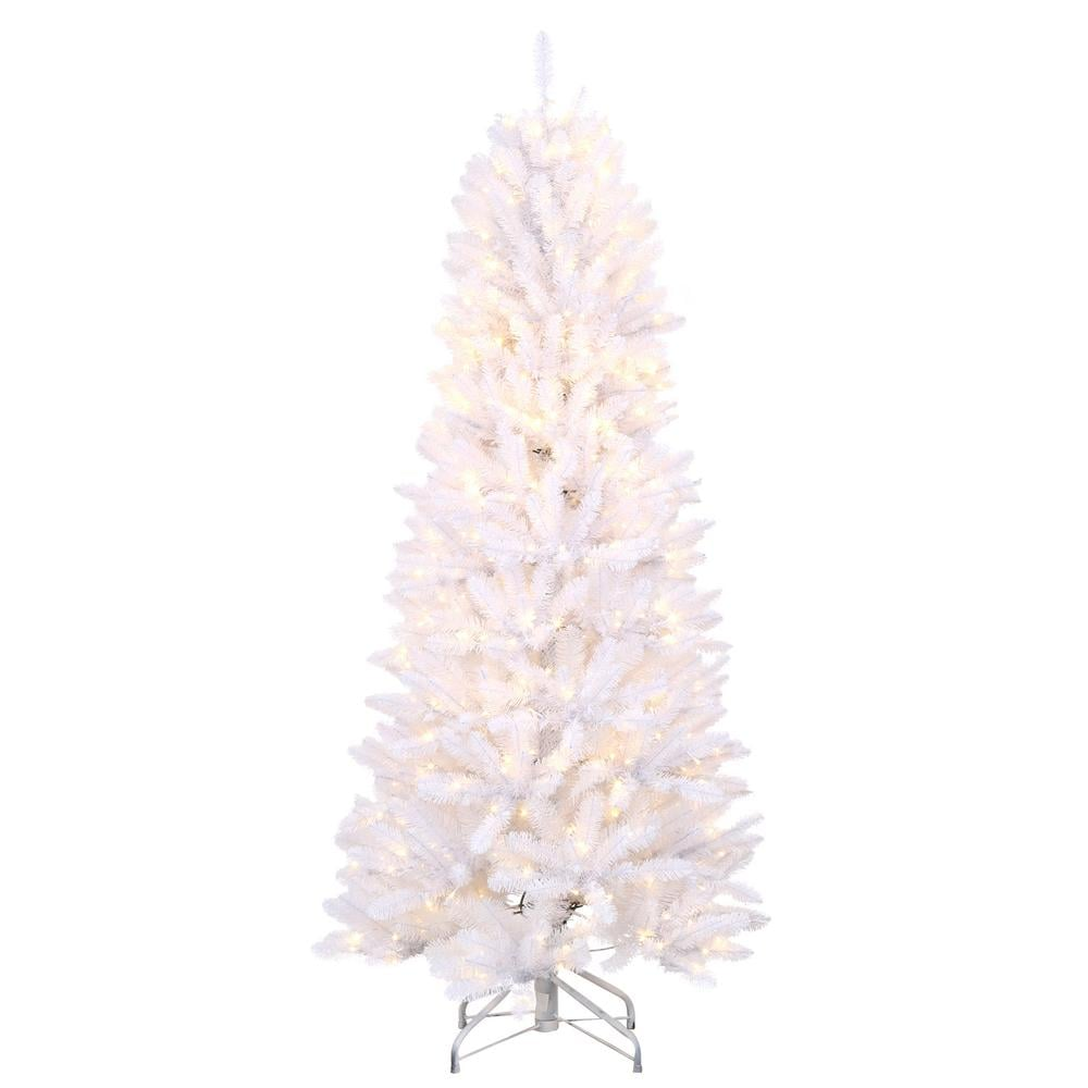 home accents holiday 6 ft pre lit white fraser with warm white and multi