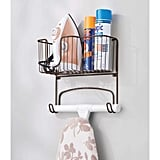 mDesign Wall Mounted Ironing Board Holder and Storage Basket